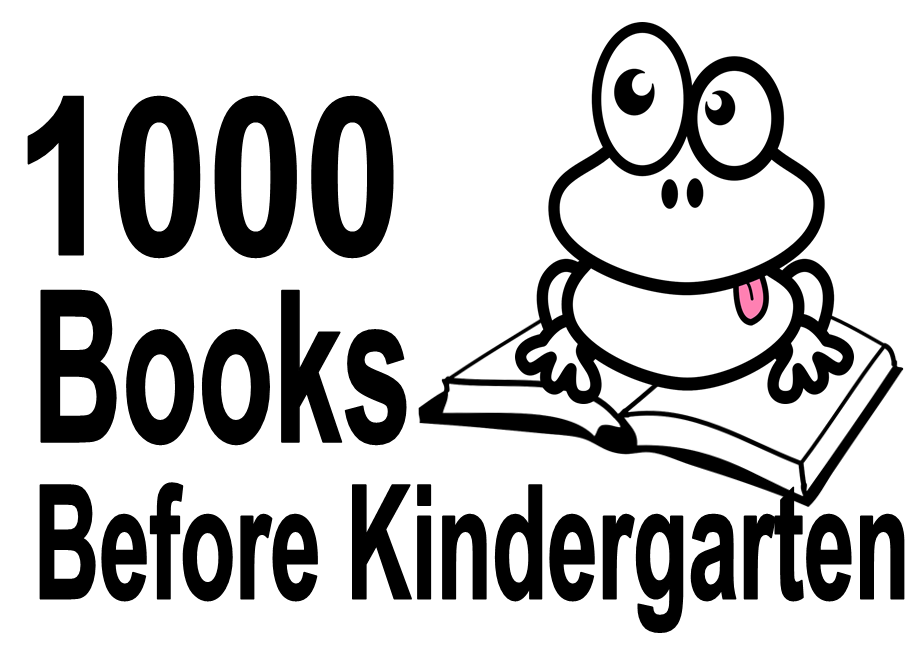frog on a book in black and white and in black text 1000 books before kindergarten