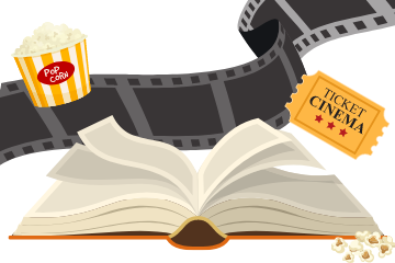 An open book with film, popcorn, and a movie ticket coming out of it