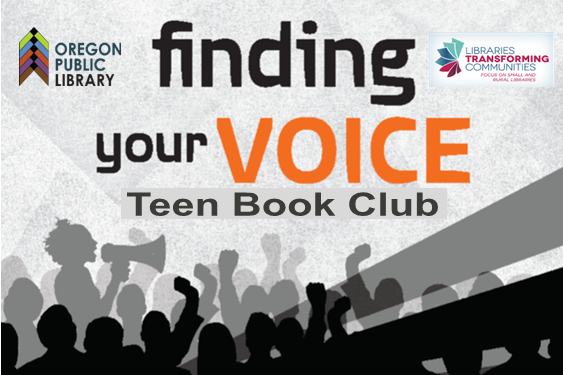 text: finding your voice teen book club libraries transforming communities image: crowd and person with megaphone