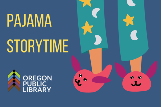 text pajama storytime image of legs with pink bunny slippers and teal pajama pants with yellow stars and white crescent moons