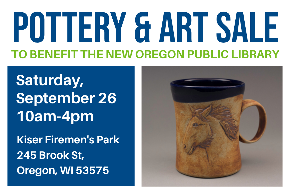 pottery and art sale, ceramic mug pictured