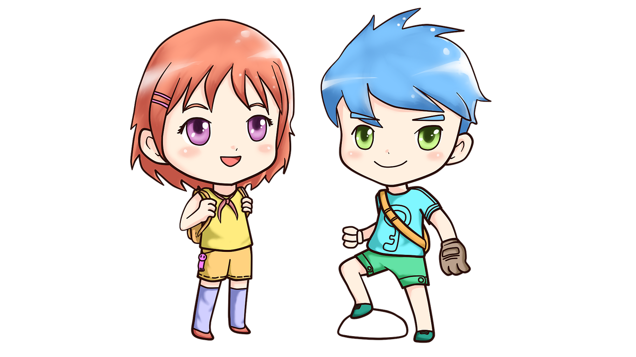 girl with orange hair and boy with blue hair