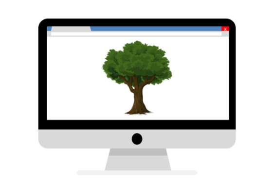 Computer screen with a tree on it