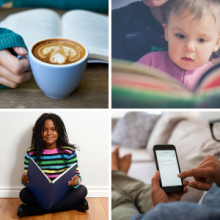 book and hot cocoa, child being read to, girl holding book, man reading a phone