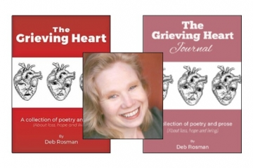 Picture of the author and her two books of Grieving Heart Poetry
