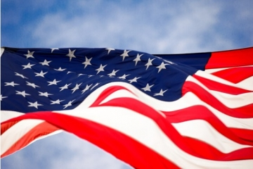 American flag flying in the sky